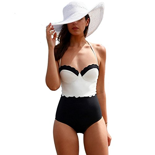 Lukitty Women's High Waist Halter One Piece Bikinis Bathing Suits Swimwear M