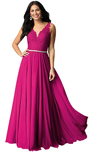 V Neck Lace Bodice Chiffon Prom Dresses 2019 Long for Women Formal Evening Gowns (Fuschia,2)