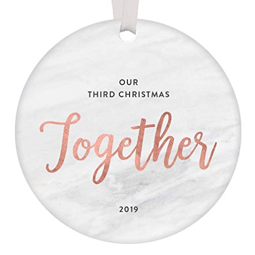 Christmas 2019 Ornament Third Anniversary Together Keepsake Gift 3rd Year Married Engagement New Homeowner Couple Best Friends Mr & Mrs Collectible Blush Pink Decoration Flat Circle Marbled Ceramic 3