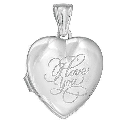 En argent sterling 925avec finition Rhodium Pendentif Médaillon Cœur avec gravure I Love You-25mm