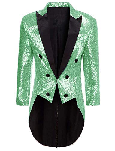 DGMJDFKDRFU Colorful Sequins Victorian Tailcoat Joker Jacket Mint Wedding Tuxedo for Men