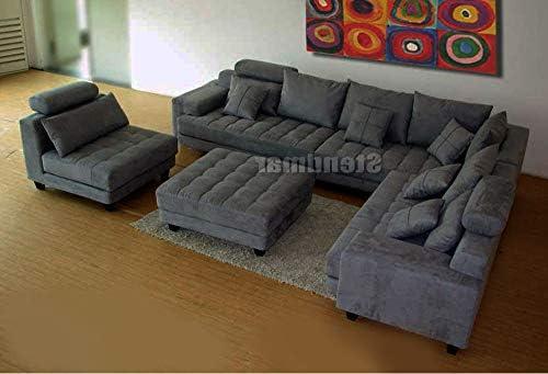 Stendmar 5-Piece Contemporary HE53-5A Dark Grey Microfiber Fabric Sectional Sofa Set S150RDG