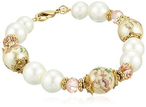 1928 Jewelry Womens Gold Tone Flower Decal Pearl & Pearl Strand Bracelet, Multi, -