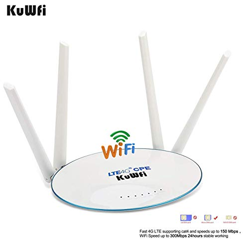 KuWFi LTE CPE SIM Card Router 300Mbps Unlocked 4G Router with SIM Card Slot with Powerful 4pcs Non-Detachable Antenna Cat4 150Mbps WiFi Hotspot Not US Version
