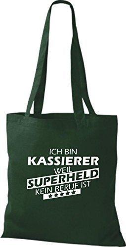 Shirtstown Stoffbeutel Ich bin Kassierer, weil Superheld kein Beruf ist Grün