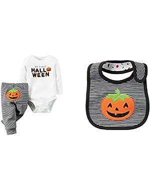 Carter's Unisex Baby's First Halloween Long Sleeve Bodysuit Pants Bib Set