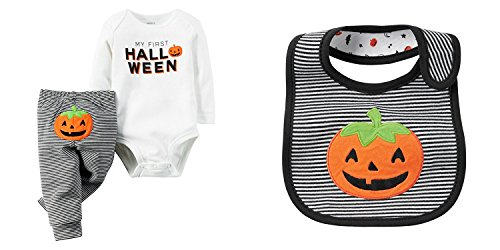 Carters Unisex Babys First Halloween Long Sleeve Bodysuit Pants Bib Set (6 Months) ()