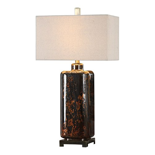 Rust Red Bronze Glass Cylinder Table Lamp | Marbled Mercury Brass