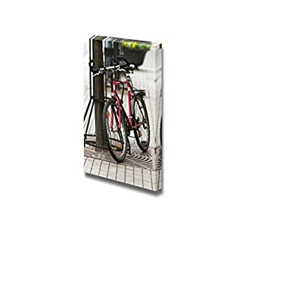 Canvas Prints Wall Art - Red City Bike/Bicycle Parked Next to a Tree | Modern Wall Decor/Home Decoration Stretched Gallery Canvas Wrap Giclee Print & Ready to Hang - 24