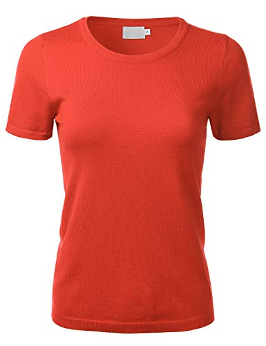 FLORIA Women's Soft Basic Crew Neck Pullover Short Sleeve Knit Sweater HOTCORAL L ()