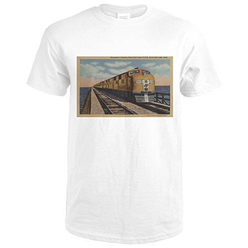 Train- Crossing Great Salt Lake, Ogden, Utah (Premium White T-Shirt - Lake Great Crossings