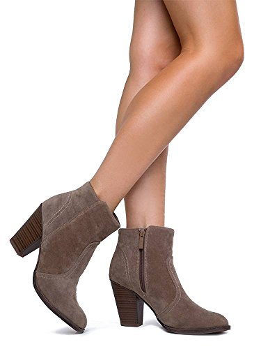 Breckelles Damen HEATHER-34 Faux Wildleder Chunky Heel Ankle Booties Beige - 34W