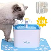 #LightningDeal 99% claimed: Veken Pet Fountain, 84oz/2.5L Automatic Cat Water Fountain Dog Water Dispenser with 3 Replacement Filters & 1 Silicone Mat for Cats, Dogs, Multiple Pets
