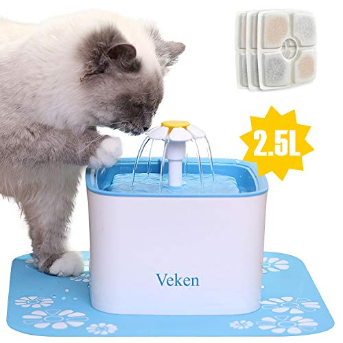 Veken Pet Fountain, 84oz/2.5L Automatic Cat Water Fountain Dog Water Dispenser with 3 Replacement Filters & 1 Silicone Mat for Cats, Dogs, Multiple Pets, Blue from Veken