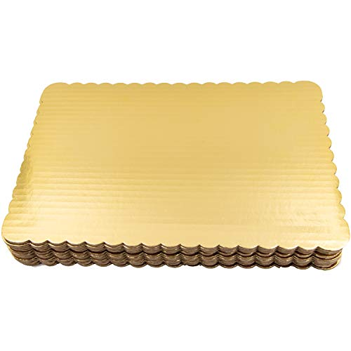 (Gold Quarter Sheet Cake Board Sturdy Rectangle Greaseproof Pad Full 12 Pk Boards)