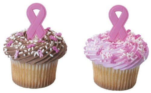 24 ~ Breast Cancer Pink Ribbons ~ Designer Cake/Cupcake Topper ~ New!!!!! -