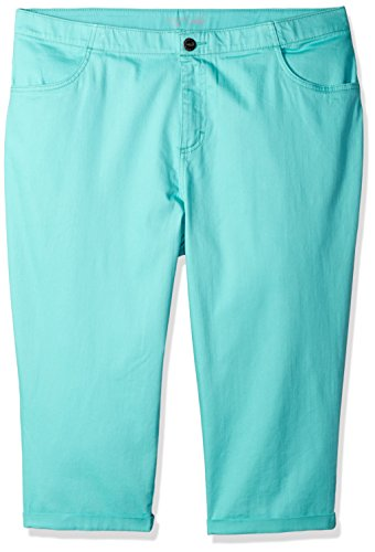 Rider Pool (Riders by Lee Indigo Women's Plus Size Comfort Collection 4 Pocket Cuffed Denim Capri, Pool Blue, 22W)