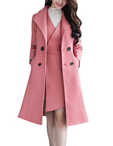 - Tanming Women's Two Pieces Double Breasted Long Wool Pea Coat (Pink, Medium)