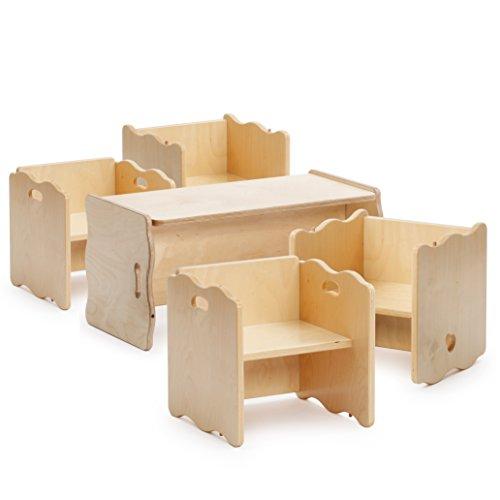 Erzi 50004 Multifunktions-Set - 4 Multifunktions-Stühle und 1 Multifunktions-Bank