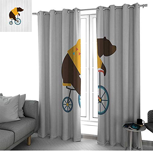 (bybyhome Bicycle Window Treatments Draperies for Bedroom Big Teddy Bear Icon of Circus Riding Bicycle with Hipster Costume Animal Image soundproof Curtain Brown Yellow W108 x L84)