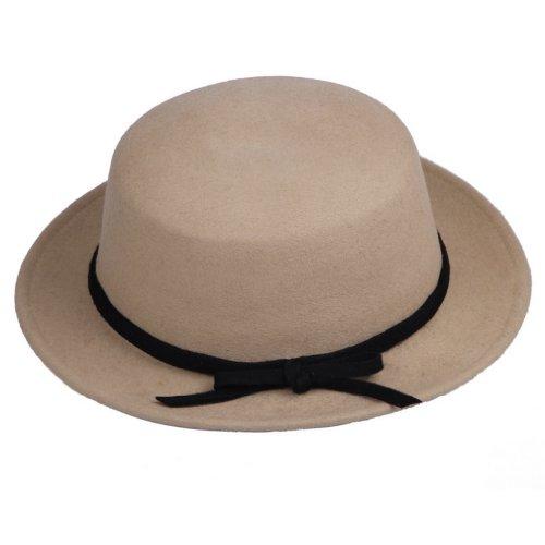 Bigood Champagne Wool Bucket Trendy Bowkot Bowler Hat Cap Billycock
