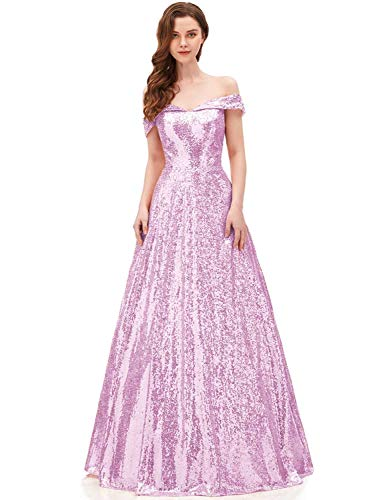 (Off The Shoulder Mermaid Prom Dress Long Sequins Evening Party Gown SHPD41 Pink Without Beads Size)
