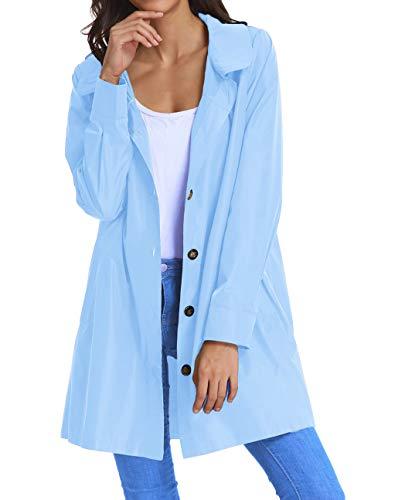 Womens Lightweight Raincoat Hoodie Windproof Hiking Coat Packable Rain Jacket KK822-9 S Light Blue