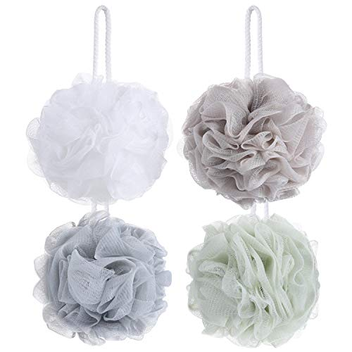 - 8 Pack Mesh Pouf Bath Sponge - Mesh Loofah Body Exfoliating Shower Ball Shower Sponge