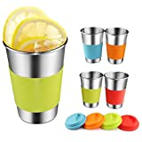 Stainless Steel Cups,Eco-friendly BPA-FREE Steel Stackable Durable Pint Cup Tumbler for Kids and Toddlers,Beer Glasses for Pubs,Bars,Restaurants,Travel,Outdoor,Camping-4 Packs (4-Packs)