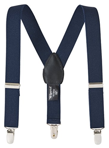 Suspenders for kids Baby Adjustable Elastic Solid, Striped, and Polka Dot Suspenders - Navy (30 Inch)