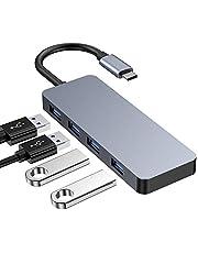 Ray Cue Hub C USB, Adaptateur USB C avec 4 Ports USB 3.0, hub de données en Aluminium Haute Vitesse Compatible avec MacBook Pro, périphériques USB de Type C