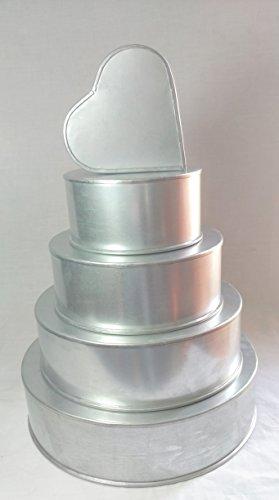 (SET OF 5 CAKE BAKING PANS 4 TIER CIRCLE ROUND + 5