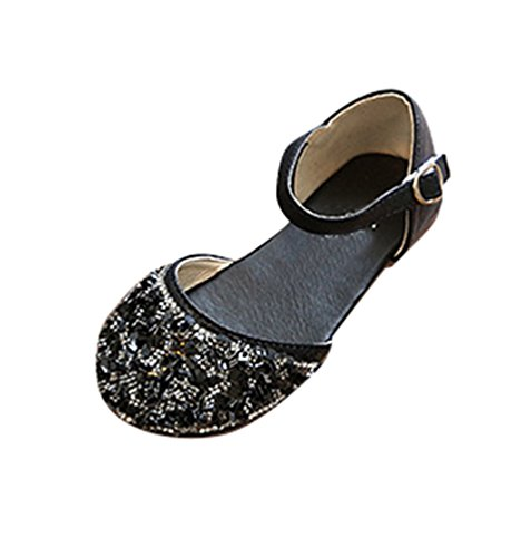 NiSeng Niñas Princesa Calzado Moda Lentejuelas Zapatos Vestir Zapatos Fiesta Zapatos Negro