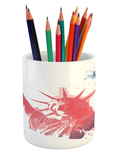 Ambesonne 4th of July Pencil Pen Holder, Watercolor Lady Liberty Silhouette with Paint Splashes Independence, Printed Ceramic Pencil Pen Holder for Desk Office Accessory, Dark Coral Pale Blue