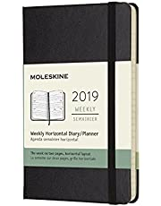 Moleskine Planner Diary 2019 12M Weekly Horizontal Pocket Black Hard Cover, 9x14 cm