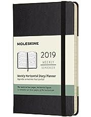 Moleskine Planner Diary 2019 12M Weekly Horizontal Pocket Black Hard Cover, 9x14 cm