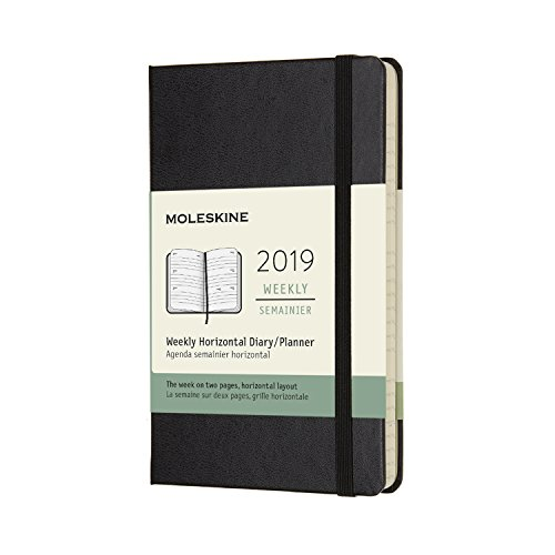 Moleskine Classic Hard Cover 2019 12 Month Weekly Horizontal Planner, Pocket Size (3.5