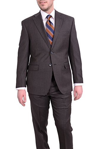 Ital Uomo Regular Fit Brown Check Two Button Wool Suit (Check Wool 2 Button Suit)