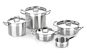 BRA Profesional - Menaje de 5 piezas, acero inoxidable 18/10, apta para todo tipo de cocinas incluídas de inducción