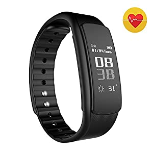Smart Watch, Bracelet Watch Intelligent Podomètre Caluler Calorie Bluetooth 4.0 SmartWatch Pour iOS de iphone 6/6s/6 plus/6s plus et Androïde (HR Noir)