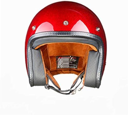 ZNYD Retro Helm van de motorfiets for mannen en vrouwen geschikt for klassieke Retro Open Design Lightweight Motorcycle (Color : Orange, Size : L)