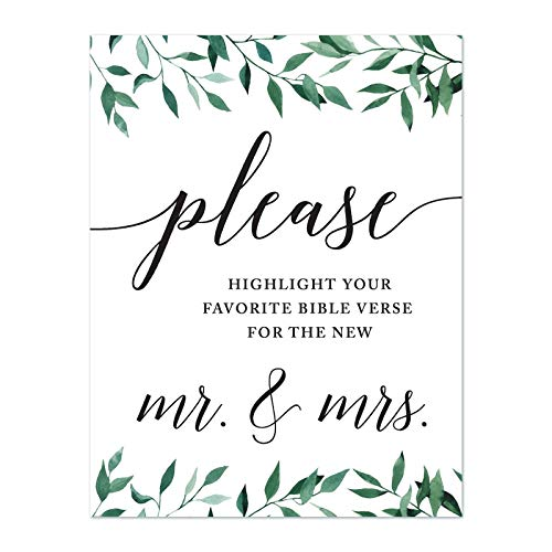 Andaz Press Wedding Party Signs, Natural Greenery Green Leaves, 8.5x11-inch, Please Highlight Your Favorite Bible Verse for The New Mr. & Mrs, 1-Pack