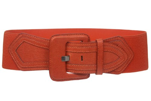 Ladies High Waist Fashion Stretch Belt with Tab Detailing Color: Orange Size: L/G - (Ladies High Waist Fashion)