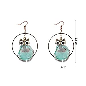 Gespout Women's Owl Feather Pendant Earrings Jewellery Accessories Christmas Eve Wedding Anniversary Valentine's Day…