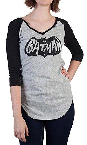 Batman+Shirts Products : Batman Classic 66 Logo V-Neck Raglan Juniors Grey Black T-shirt