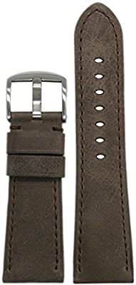 26mm Panatime Brown Radiomir Style Vintage Distressed Leather Watch Band with Match Stitching 26/22 125/75 from Panatime