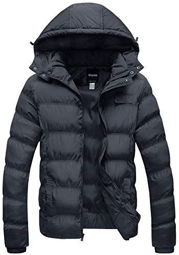 Wantdo Men's Winter Coat Thicken Cotton Puffer Jacket with Removable Hood, Dark Gray, Small