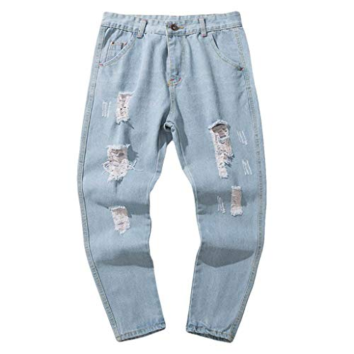 ZODOF Jeans Hombre Azul Pantalones de Mezclilla de algodón para Hombres Ocasionales del otoño del Dril de algodón de la Colada del Vintage Pantalones de los Pantalones Azul