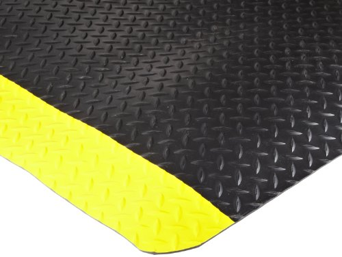 Durable Vinyl Heavy Duty Diamond-Dek Sponge Industrial Anti-Fatigue Floor Mat, 3' x 5', Black with Yellow -