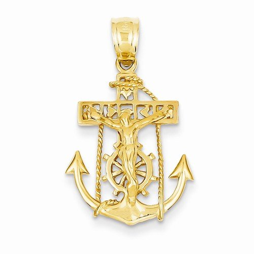 Solid 14k Yellow Gold Anchor Mariners Cross Crucifix Pendant (29mm x 18mm) 14k Yellow Gold Mariners Cross